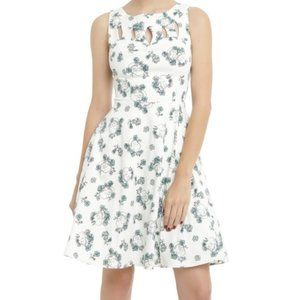 Hot Topic M Jrs Cutout Swing Skull Floral Dress